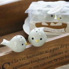 Bird's Nest Ceramic Salt & Pepper Shakers With Ribbons