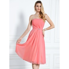A-Line/Princess Strapless Knee-Length Chiffon Bridesmaid Dress With Ruffle Beading