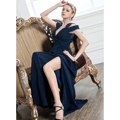 A-Line/Princess V-neck Floor-Length Chiffon Evening Dress With Ruffle Split Front