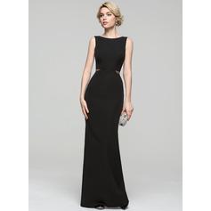 Sheath/Column Scoop Neck Floor-Length Satin Evening Dress