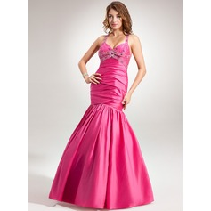 Trumpet/Mermaid Halter Floor-Length Taffeta Holiday Dress With Ruffle Beading