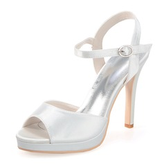 Satin Stiletto Heel Peep Toe Platform Sandals Slingbacks With Buckle