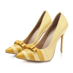 Women's Real Leather Stiletto Heel Pumps Closed Toe With Bowknot Split Joint shoes