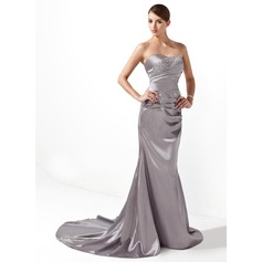 Trumpet/Mermaid Sweetheart Court Train Charmeuse Holiday Dress With Ruffle Beading (020003237)