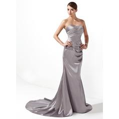 Trumpet/Mermaid Sweetheart Court Train Charmeuse Holiday Dress With Ruffle Beading (020003237)