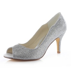 Women's Sparkling Glitter Stiletto Heel Peep Toe Sandals