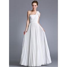 A-Line/Princess One-Shoulder Floor-Length Chiffon Holiday Dress With Ruffle