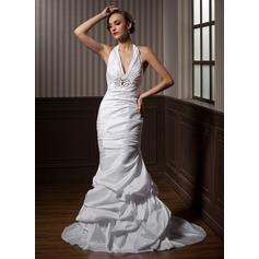 Trumpet/Mermaid Halter Court Train Taffeta Wedding Dress With Ruffle Beading