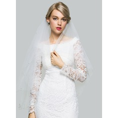 Two-tier Waltz Bridal Veils With Beaded Edge