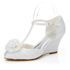 Women's Satin Wedge Heel Closed Toe Pumps With Flower