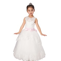 Ball Gown Floor-length Flower Girl Dress - Satin/Tulle Sleeveless Scoop Neck With Sash/Appliques/Bow(s)/V Back
