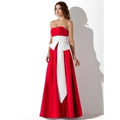 Empire Strapless Floor-Length Taffeta Bridesmaid Dress With Sash Bow(s)