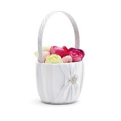 Pure Flower Basket in Satin With Rhinestones/Sash
