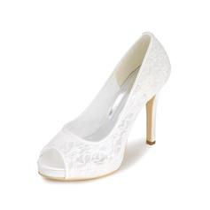 Women's Lace Stiletto Heel Peep Toe Pumps
