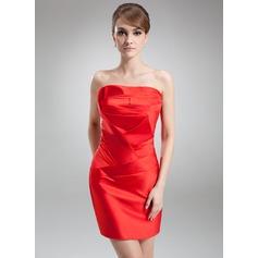 Sheath/Column Scalloped Neck Short/Mini Satin Cocktail Dress With Ruffle