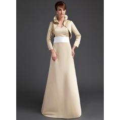 Sheath/Column Sweetheart Sweep Train Satin Bridesmaid Dress With Sash