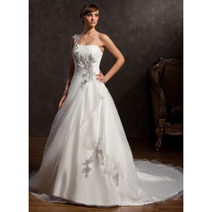 Ball-Gown One-Shoulder Chapel Train Satin Organza Wedding Dress With Ruffle Beading Appliques Lace