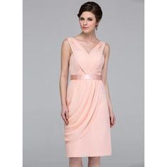 Sheath/Column V-neck Knee-Length Chiffon Bridesmaid Dress With Ruffle