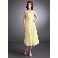A-Line/Princess Strapless Tea-Length Chiffon Bridesmaid Dress With Ruffle Crystal Brooch