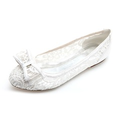 Women's Lace Flat Heel Closed Toe Flats With Bowknot