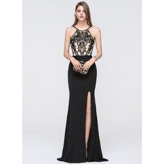 Sheath/Column Scoop Neck Floor-Length Jersey Prom Dress With Split Front