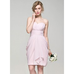Sheath/Column Sweetheart Knee-Length Chiffon Cocktail Dress With Cascading Ruffles