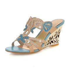 Women's Leatherette Wedge Heel Sandals Wedges Peep Toe With Rhinestone shoes
