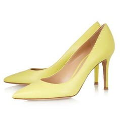 Patent Leather Cone Heel Pumps Closed Toe shoes