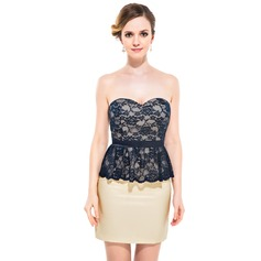 Sheath/Column Sweetheart Short/Mini Charmeuse Lace Cocktail Dress With Cascading Ruffles