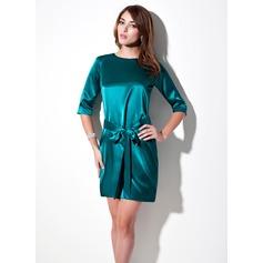 Sheath/Column Scoop Neck Short/Mini Charmeuse Kate Middleton Style With Sash (044007574)