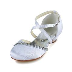 Girl's Satin Flat Heel Closed Toe Flats With Buckle Rhinestone