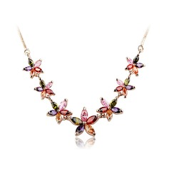 Exquisite Copper/Zircon/Rose Gold Plated Ladies' Necklaces