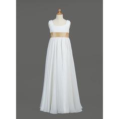 Empire Floor-length Flower Girl Dress - Chiffon/Taffeta Sleeveless Scoop Neck With Sash