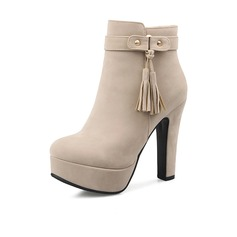 Women's Suede Chunky Heel Platform Ankle Boots With Buckle Zipper Tassel shoes