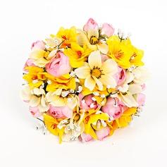 Romantic Round Artificial Silk Bridal Bouquets