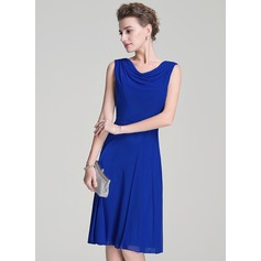 A-Line/Princess Cowl Neck Knee-Length Jersey Mother of the Bride Dress With Ruffle