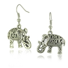 Holy Elephant Tibetan Silver Ladies' Fashion Earrings