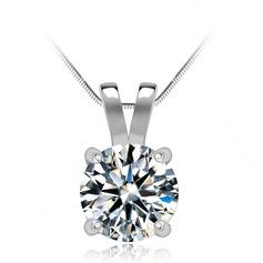 Unique Copper/Zircon/Platinum Plated Ladies' Necklaces