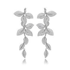Exquisite Copper/Zircon/Platinum Plated Ladies' Earrings