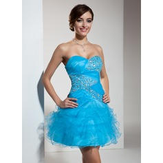A-Line/Princess Sweetheart Short/Mini Tulle Homecoming Dress With Beading Sequins Cascading Ruffles