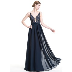 A-Line/Princess V-neck Floor-Length Chiffon Evening Dress With Beading Appliques Lace Sequins