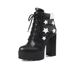 Leatherette Chunky Heel Platform Closed Toe Ankle Boots With Applique Braided Strap shoes