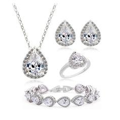 Sparking Copper/Zircon/Platinum Plated Ladies' Jewelry Sets