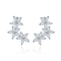Elegant Copper/Zircon/Platinum Plated Ladies' Earrings