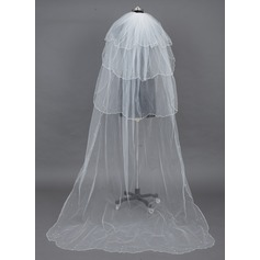 Four-tier Chapel Bridal Veils With Scalloped Edge