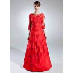 A-Line/Princess Scoop Neck Floor-Length Taffeta Mother of the Bride Dress With Lace Beading Cascading Ruffles