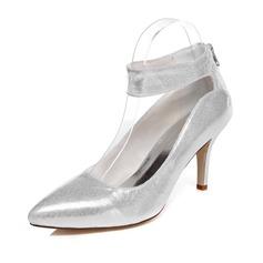 Women's Leatherette Stiletto Heel Closed Toe Pumps With Zipper