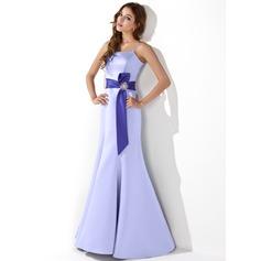 Trumpet/Mermaid Floor-Length Satin Bridesmaid Dress With Sash Crystal Brooch