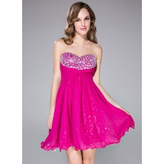 Empire Sweetheart Short/Mini Chiffon Prom Dress With Ruffle Beading
