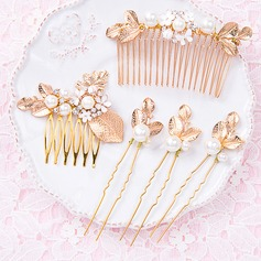 Glamourous Gold Plated Hairpins/Combs & Barrettes (Set of 5 pieces)
